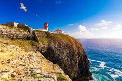 Lighthouse of Cabo Sao Vicente, Sagres, Portugal. Farol do Cabo Sao Vicente built in october 1851 Cabo de Sao Vicente is the. South Western tip of Europe royalty free stock images