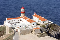 Lighthouse at Cabo Vicente. Near Sagres in Portugal Royalty Free Stock Photography