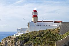 Lighthouse from Cabo Vicente in Portugal Stock Image