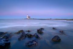 The Lighthouse of Marken. This lighthouse is called, Het Paard van Marken Stock Photo