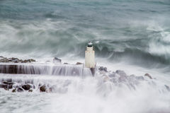 The lighthouse of Camogli during a storm Royalty Free Stock Photo