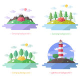 Lighthouse and camping vector flat style background with (with deciduous trees, with mountains, with coniferous trees). Stock Image