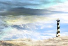 Lighthouse on Canadian prairies with storm royalty free stock image