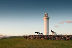 Lighthouse and cannons at wollongong royalty free stock image