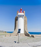 Lighthouse of the Cap Cerbere, Languedoc-Roussillon Stock Photo