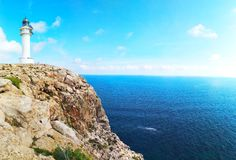 Lighthouse cap de barbaria in formentera on the cliff stock images