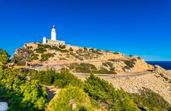 Lighthouse of Cap de Formentor on Majorca island, Spain. Beautiful view of Lighthouse at Cap Formentor Majorca, Mediterranean Sea, Balearic Islands stock images