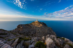 Lighthouse in Cap de Formentor Mallorca around sunset. Lighthouse in Cap de Formentor, Mallorca, Balearic Islands, Spain around sunset Stock Images