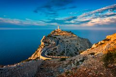 Lighthouse of Cap de Formentor Mallorca Spain around Sunset royalty free stock photography