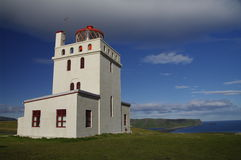 Lighthouse at Cap Dyrholaey, Iceland Royalty Free Stock Image