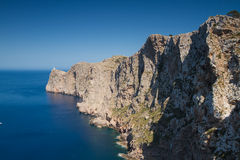 Lighthouse at Cap Formentor. Mallorca, Baleares, Spain Royalty Free Stock Images