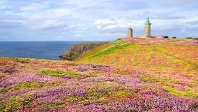 Lighthouse on Cap Frehel. Brittany, France Royalty Free Stock Image