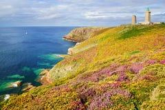 Lighthouse on Cap Frehel. Brittany, France Stock Photos