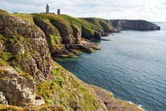Lighthouse on Cap Frehel. Brittany, France Royalty Free Stock Photo