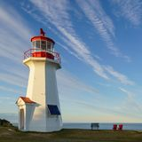 Lighthouse at Cap Gaspe of Forillon National Park, Quebec Stock Photos