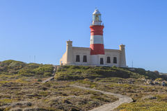 Lighthouse Cape Agulhas. The Cape Agulhas Lighthouse is situated at Cape Agulhas, the southernmost tip of Africa. It was the third lighthouse to be built in Stock Photos