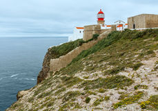 Lighthouse on cape, Algarve, Portugal. Royalty Free Stock Images