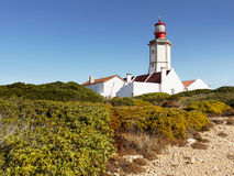 Lighthouse on Cape. Cape - Cabo Epischel lighthouse. Sesimbra Portugal Royalty Free Stock Photography
