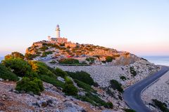 Lighthouse at Cape Formentor in the Coast of North Mallorca, Spain Balearic Islands . Beautiful white Lighthouse at Cape Formentor in the Coast of North stock photography
