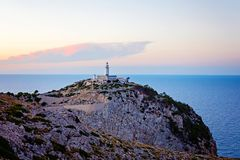 Lighthouse at Cape Formentor in the Coast of North Mallorca, Spain Balearic Islands . Artistic sunrise and dusk landascape Royalty Free Stock Images