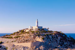 Lighthouse at Cape Formentor in the Coast of North Mallorca, Spain, Balearic Islands. Artistic sunrise and dusk landascape Royalty Free Stock Photo