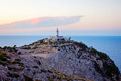 Lighthouse at Cape Formentor in the Coast of North Mallorca, Spain  Balearic Islands . Artistic sunrise and dusk landascape Royalty Free Stock Photography