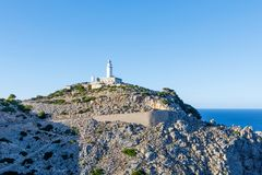 Lighthouse at Cape Formentor in the Coast of North Mallorca, Spain  Balearic Islands . Beautiful white Lighthouse at Cape Formentor in the Coast of North Stock Photos