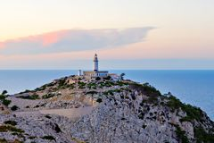 Lighthouse at Cape Formentor in the Coast of North Mallorca, Spain Balearic Islands . Beautiful white Lighthouse at Cape Formentor in the Coast of North Stock Photo