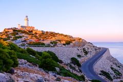 Lighthouse at Cape Formentor in the Coast of North Mallorca, Spain Balearic Islands . Beautiful white Lighthouse at Cape Formentor in the Coast of North royalty free stock photography