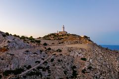 Lighthouse at Cape Formentor in the Coast of North Mallorca, Spain Balearic Islands . Beautiful white Lighthouse at Cape Formentor in the Coast of North Royalty Free Stock Photos