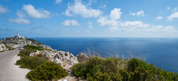 Lighthouse at cape Formentor at Mallorca Stock Image