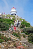 Lighthouse on Cape of Good Hope, South Africa. CAPE TOWN, SOUTH AFRICA - DECEMBER 29, 2007: Tourists and Lighthouse on Cape of Good Hope, Cape Town, South Africa Royalty Free Stock Photo