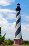 Lighthouse on Cape Hatteras. The Cape Hatteras Lighthouse on North Carolina's Outer Banks is painted with black and white spiral stripes Stock Images