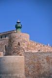 Lighthouse on cape of the Ortigia island Royalty Free Stock Photo