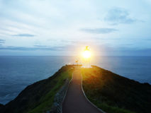 Lighthouse at Cape Reinga after sunset, New Zealand Royalty Free Stock Image