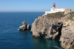 Lighthouse at the cape S.Vicente in Algarve, Portugal. Stock Photography