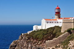 Lighthouse at the cape S.Vicente in Algarve, Portugal. Royalty Free Stock Image
