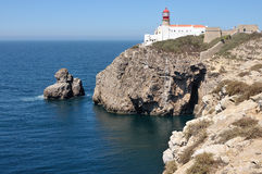 Lighthouse at the cape S.Vicente in Algarve, Portugal. Royalty Free Stock Photography
