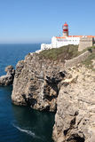 Lighthouse at the cape S.Vicente in Algarve, Portugal. Royalty Free Stock Images