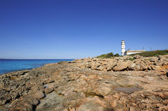 The lighthouse at Cape Salinas, Majorca Royalty Free Stock Image