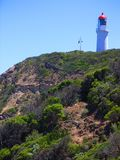 Lighthouse at Cape Schanck. Photo taken from the boarwalk looking back up the cliffs towards the lighthouse at Cape Schanck (Mornington Peninsula, Australia royalty free stock image