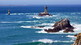 Lighthouse on Cape Sizun, Pointe du Raz. Stock Images
