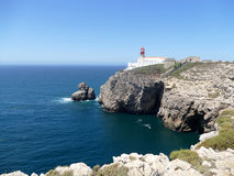 Lighthouse at Cape St Vincent in Portugal. Lighthouse on the cliff at Cape St Vincent near Sagres, Portugal Stock Image