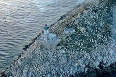 Lighthouse at Cape Tainaro, Greece. An aerial shot of the lighthouse at Cape Tainaro, the second southmost edge of Europe stock photos