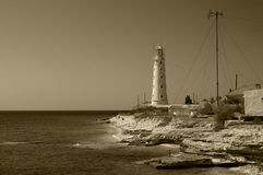 Lighthouse on the cape Tarhankut Royalty Free Stock Photo