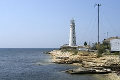 Lighthouse on the cape Tarhankut Royalty Free Stock Photography