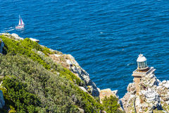 Lighthouse at Cape Town. City Cape of Hope pathway Royalty Free Stock Photos