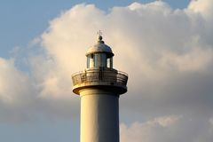 Lighthouse Cape Zampa, Yomitan Village, Okinawa Japan at Sunset royalty free stock photography