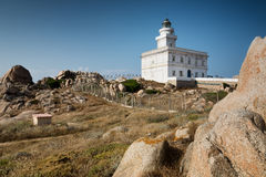 Lighthouse at the Capo Testa, Sardinia, Italy Stock Images