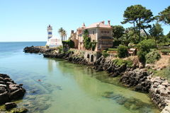 Lighthouse in Cascais, Portugal stock images